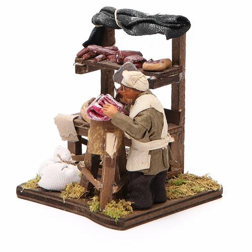 Butcher with stall, Neapolitan nativity figurine 10cm s2