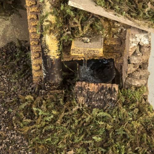 Cabaña con fuego y fuente para pesebre 30x50x24cm s2