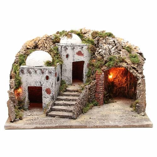 Cabaña y ambientación árabe con luz para belén 28x50x40 cm s1