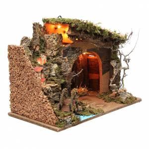 Cabane illuminée crèche avec bourgade 36x50x26 cm s3