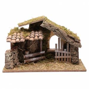Maisons, milieux, ateliers, puits: Cabane vide avec palissade 26,5x42x18 cm