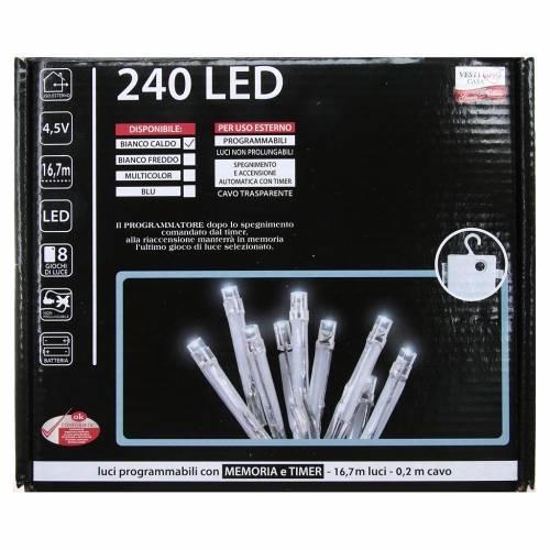 Cadena de luces de Navidad 240 LED blanco cálido programables con batería para exterior s4