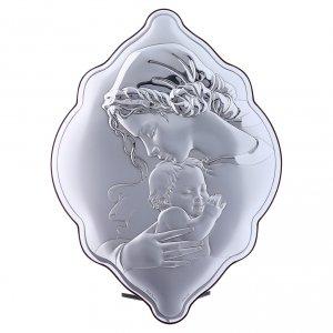 Bas reliefs en argent: Cadre amande 31x21 cm en bi-laminé avec arrière en bois massif Vierge Enfant