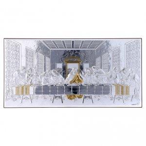 Bas reliefs en argent: Cadre bi-laminé avec arrière bois massif Cène 16,8x33,6 cm