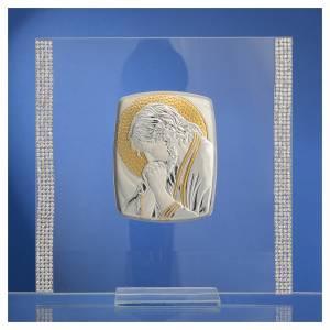 Cadre Christ Argent et strass 17,5x17,5 cm s2
