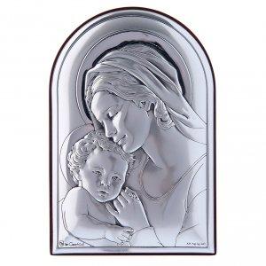 Bas reliefs en argent: Cadre en bi-laminé avec support en bois massif Marie avec Jésus 12x8 cm