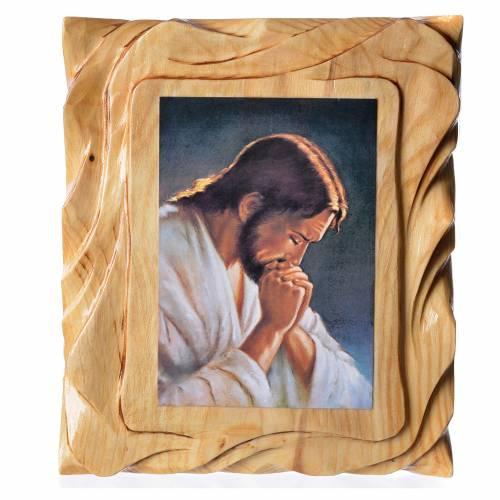 Cadre en bois impression Jésus en prière 25x20 cm s1