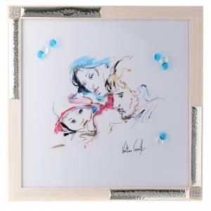 Bonbonnières: Cadre Joie Familiale aquarelle 36x36 cm argent et cristaux