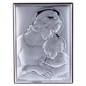 Bas reliefs en argent: Cadre Marie avec Jésus en bi-laminé avec support en bois massif 12x8 cm