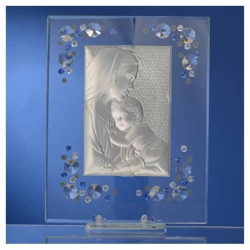 Cadre Maternité bleu argent et Swarovski 19x16 cm s4
