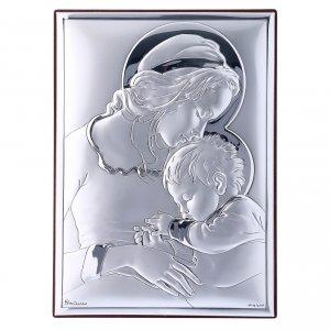 Bas reliefs en argent: Cadre rectangulaire Vierge avec Enfant Jésus en bi-laminé avec arrière en bois massif 18x13 cm