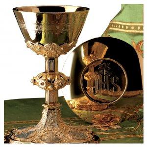 Calice e Patena Molina Evangelisti stile gotico coppa argento 925 dorato s1