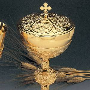 Calice e pisside ottone dorato argento 925/00 decoro medaglioni s2