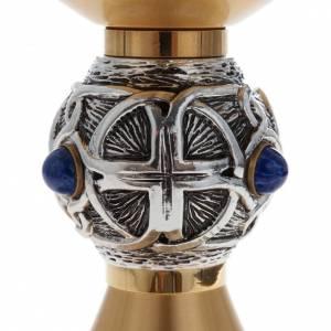 Calice pisside patena ottone argento croce celtica e pietra s5