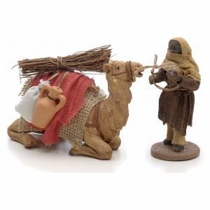 Belén napolitano: Camellero con camello 10 cm escena pesebre Napolitano
