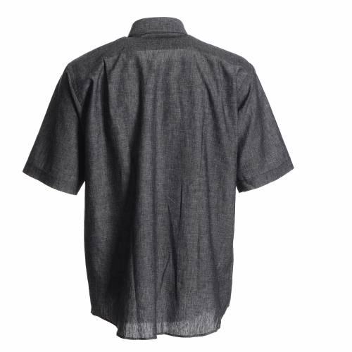 Camicia clergy lino cotone grigio s2