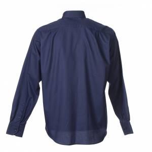 Camisas Clergyman: Camisa Clergy Manga Larga Planchado Facil Diagonal Mixto Algodón Azul