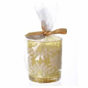 Candela di Natale bicchiere vetro bianco e avorio assortite s1