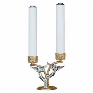 Candelabri: Candelabro angeli in ottone fuso 2 bossoli h 18 cm