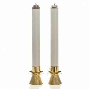 Candle holders with fake candles, cone shaped s1