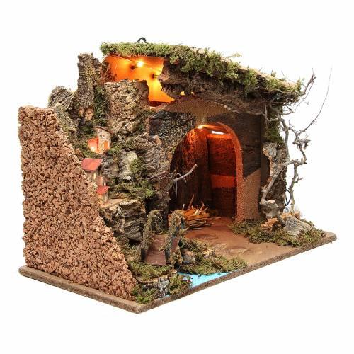 Capanna illuminata presepe con borgo 36x50x26 cm s3