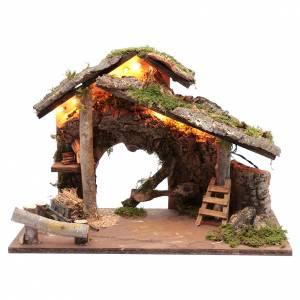 Capanne Presepe e Grotte: Capanna per presepe con tronchi d'albero e carretto 35x50x25 cm