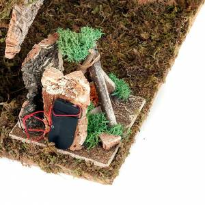 Capanne Presepe e Grotte: Capanna presepe con fontana elettrica e forno led 43x24x25 cm