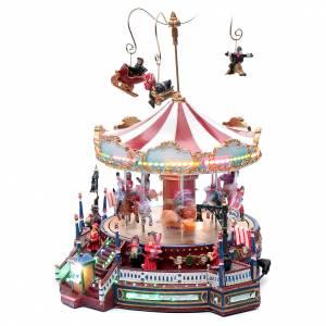 Villages de Noël miniatures: Carrousel hivernal en mouvement 26x28x26 cm