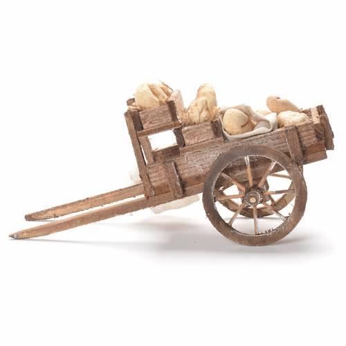 Cart with bread, Neapolitan Nativity 12x20x8cm s2