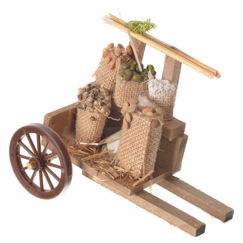 Cart with cereal in wax, nativity accessory 10x12x8cm s1