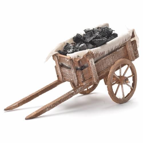 Cart with coal, Neapolitan Nativity 12x20x8cm s1