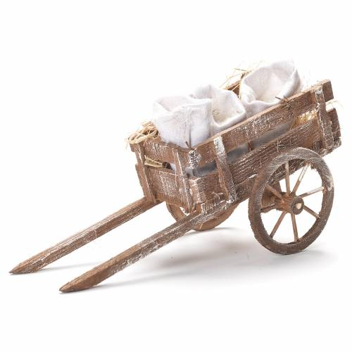 Cart with flour sacks, Neapolitan Nativity 12x20x8cm s1