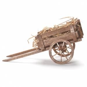 Cart with hay, Neapolitan Nativity 12x20x8cm s2