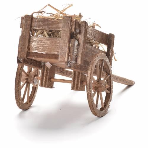 Cart with hay, Neapolitan Nativity 12x20x8cm s3