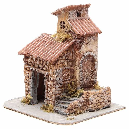 Casetta resina e legno presepe napoletano 25x22x20 cm s2