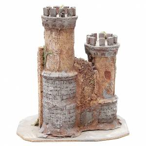 Castello presepe Napoli in sughero 30x26x26 s4