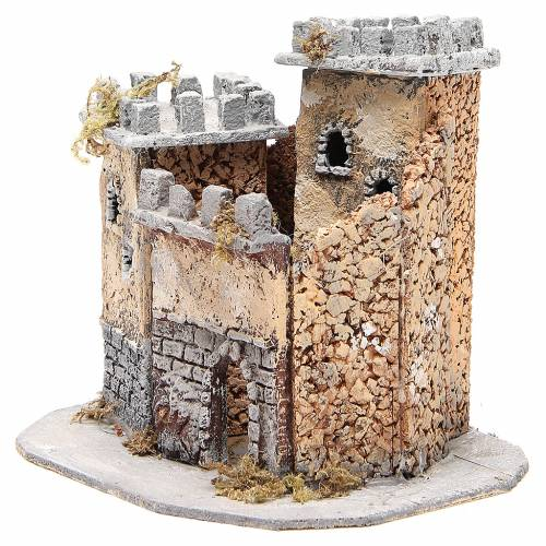 Castle for Neapolitan nativity scene in cork 20x22x20cm s2