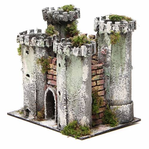 Castle with 4 towers for nativities measuring 18x20x14cm s2