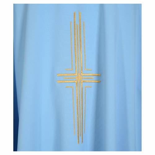 Casula azzurra 100% poliestere croce dorata s3