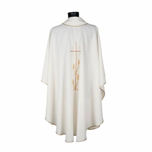 Casula liturgica poliestere croce dorata spighe s4