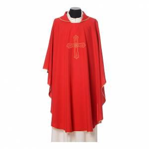 Casula ricamo croce fiore davanti dietro tessuto Vatican 100% poliestere s4
