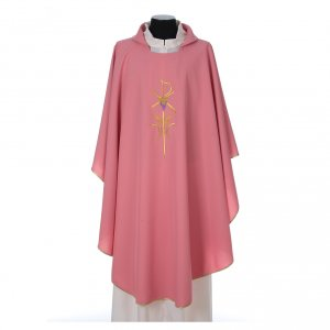 Casule: Casula sacerdotale 100% poliestere con spighe croce uva rosa