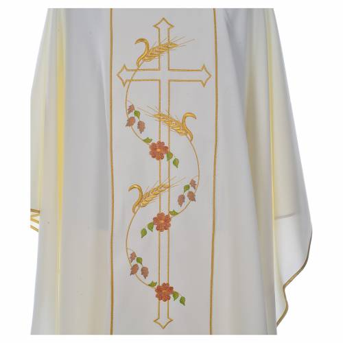 Casula sacerdotale 100% poliestere croce spighe s5