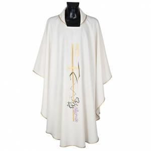 Casula sacerdotale croce lunga dorata uva poliestere s1