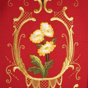 Casula sacerdotale decori oro fiori colorati, pura lana s5