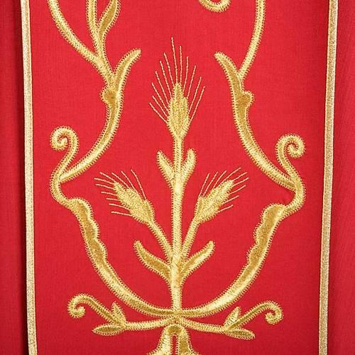 Casula sacerdotale lana pura spighe oro s6