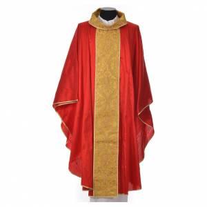 Casula sacerdotale seta 100% ricamo dorato s7