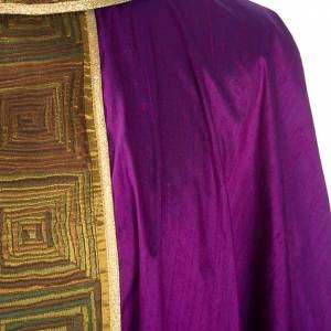 Casula sacerdotale seta 100% ricamo quadri s6