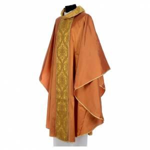 Casula sacerdotale seta oro 100% ricamo dorato s2