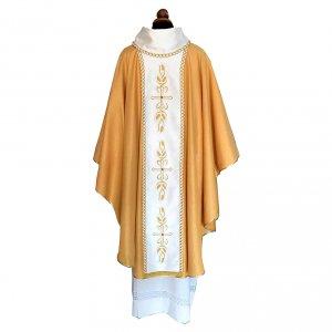 Casula tessuto Papale dorato stolone ricamo e pietre s2